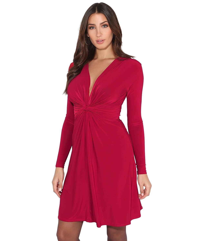 TALLA 36. KRISP Vestido Mujer Corto Talla Grande Boda Noche Manga Cóctel Fiesta Elástico Plisado Elegante Ceremonia Rojo Oscuro (9878) 36