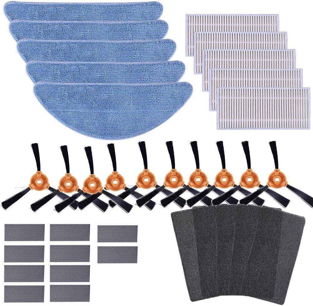 Tomkity 35 Piezas Recambios para Cecotec Conga Excellence 990 con 10 Cepillo Lateral 5 Filtros 5 Esponja 5 Paños 10 Pasta mágica: Amazon.es: Hogar