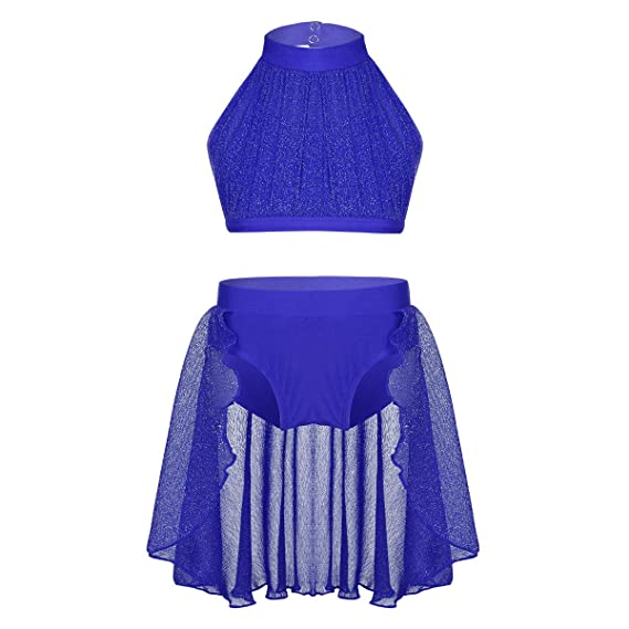 iiniim 2pc Ropa Conjunto de Danza Lírica Ballet para Niña Traje de Baile Moderna Jazz Patinaje Artistico Crop Top + Pantalones Cortos con Falda ...
