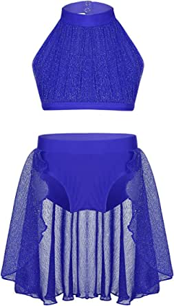 moily Kids Girls Dance 2pcs Set Halter Crop Top with Tutu Bottom Skirts Lyrical Active Costume