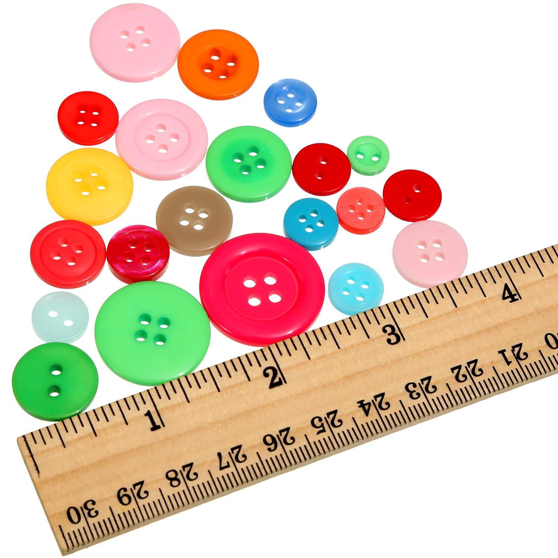 2 Agujeros y 4 Agujeros 1000 Piezas de Botones de Resina de Artesan/ía Redondos para Manualidades Costura Decoraciones Multicolor