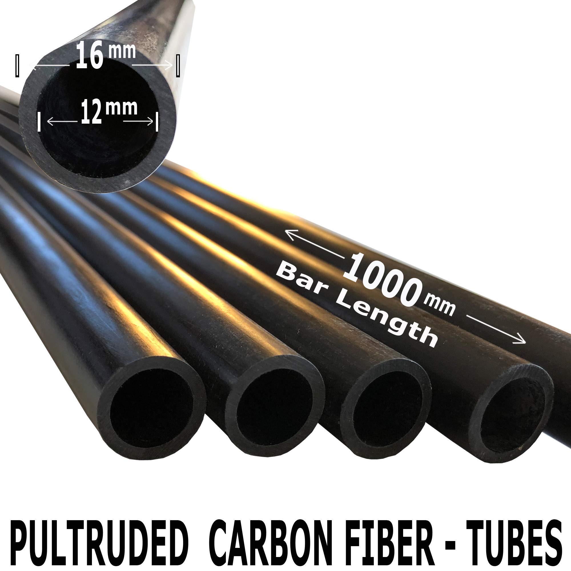 (2) Piece - 16mm x 12mm x 1000mm Carbon Fiber Tube - Pultruded Round Tube. Super High Strength for RC Hobbies, Drones, Special Projects by Carbon Kevlar Supply