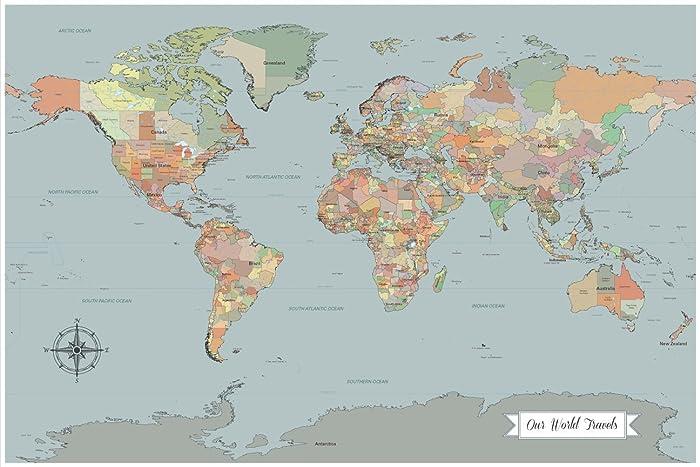 sale coastal blue world map with pins coastal home decor map paper anniversary