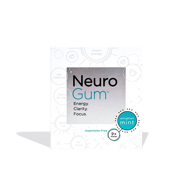 NeuroGum Nootropic Energy Gum Caffeine L-theanine B Vitamins Sugar Free Gluten Free Non GMO Vegan Enlighten Mint Flavor 108 Count