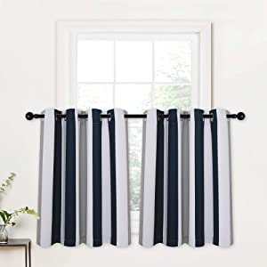RYB HOME Blackout Tier Curtains - Privacy Curtain Tiers for Half Windows Decor Color Contrast Striped Cafe Curtains for Kitchen Cabinet Office, Navy Blue & Grey, W 52 x L 36, 1 Pair