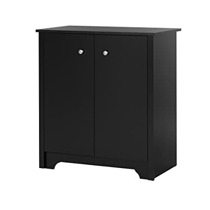 South Shore Small 2 Door Storage Cabinet With Adjustable Shelf Pure Black