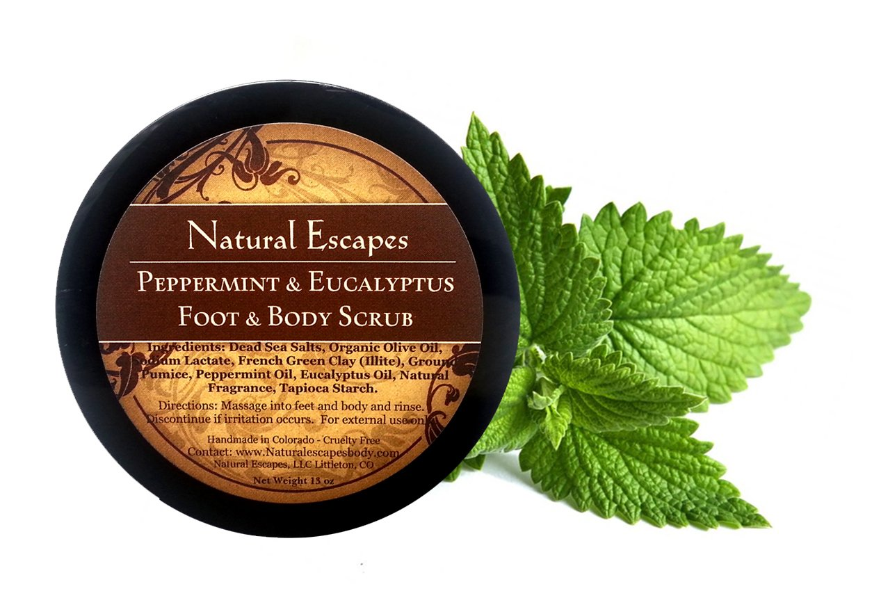 Natural Escapes Organic Skin Care | Peppermint & Eucalyptus Dead Sea Salt Scrub | Organic Foot Scrub | Exfoliate Away Dead Skin to Reveal Soft, Moisturized, Beautiful Skin!
