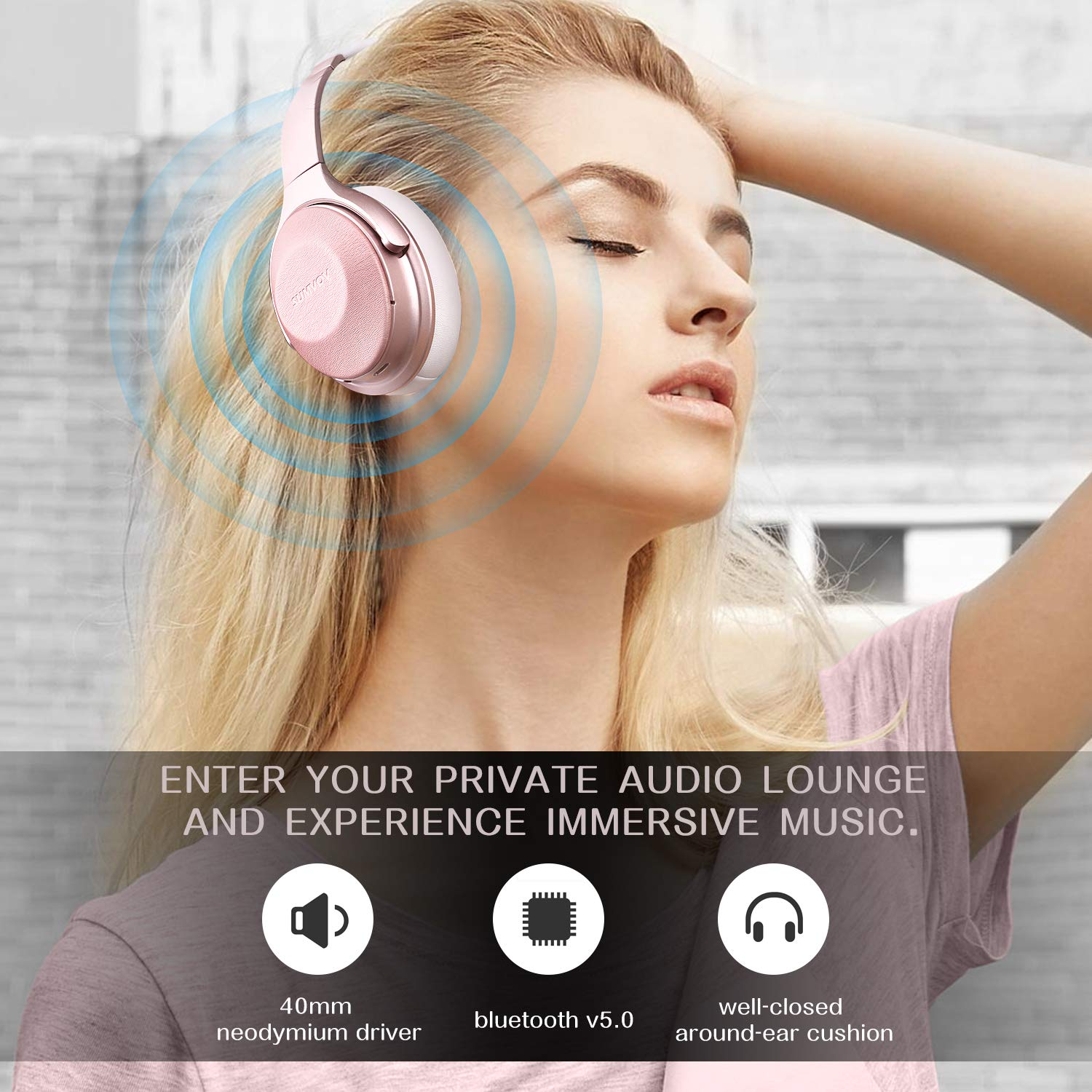 Sumvov Wireless Headphones Over Ear, Bluetooth Headphones 5.0 with Mic, Quick Charge, 30 Hours Playtime, Deep Bass, Protein Earpads, Hi-Fi Stereo Foldable Headset, for Cellphone/TV/PC (Rose Gold)