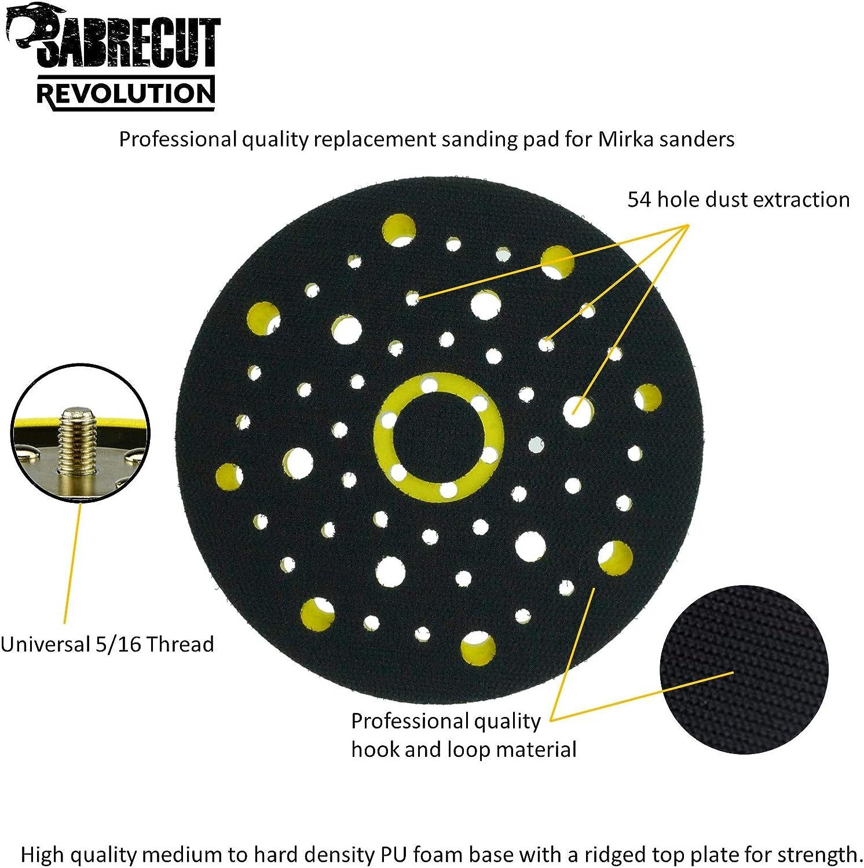 1 x SabreCut OSSCDA001 150mm 5//16 Thread 54 Hole Medium Density Random Orbital Sander Hook /& Loop Backing Pad Compatible with Mirka CEROS DEROS