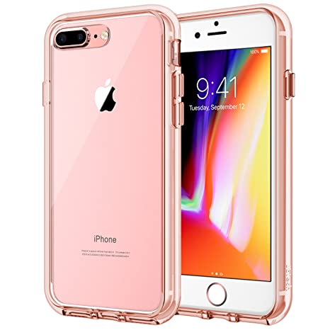 Je Tech Case For Apple I Phone 8 Plus And I Phone 7 Plus 5.5 Inch, Shock Absorption Bumper Cover, Anti Scratch Clear Back, Rose Gold by Je Tech