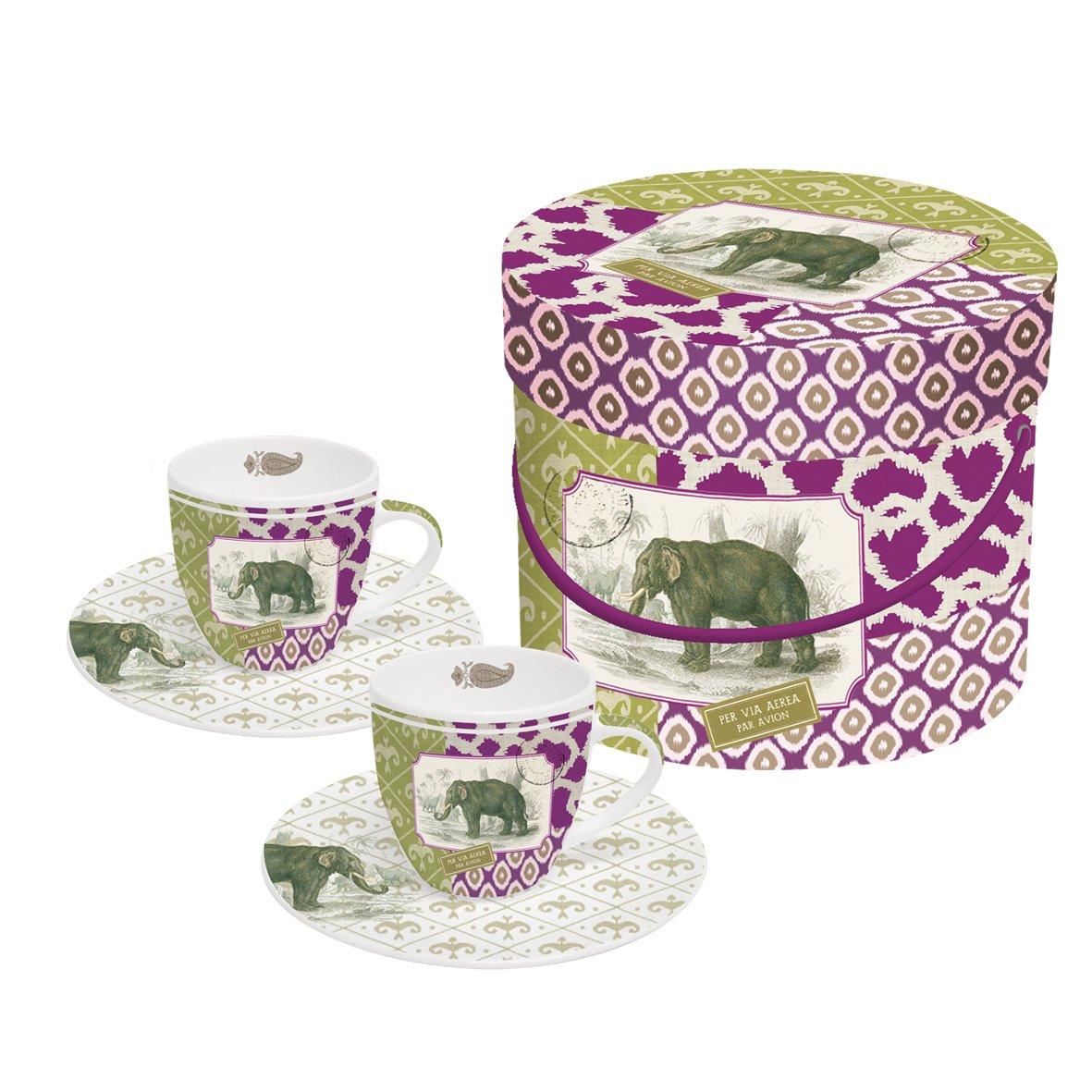 PPD Juego de 2 Tazas de Cafe Espresso y Platos con Caja Regalo Elefante Jaipur: Amazon.es: Hogar