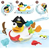 Yookidoo Jet Duck Bath Toy   Baby Boat Toy with Super Powered Water Cannon Shooter   Customize Your Bathtub Pirate and Watch it Spin and Swim   Age 2+