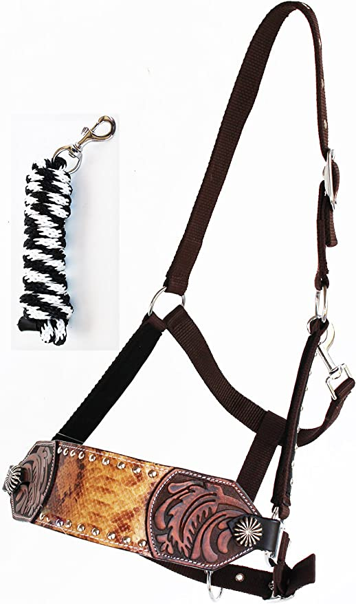Horse Noseband Tack Bronc Leather HALTER Tiedown Lead Rope  280M49