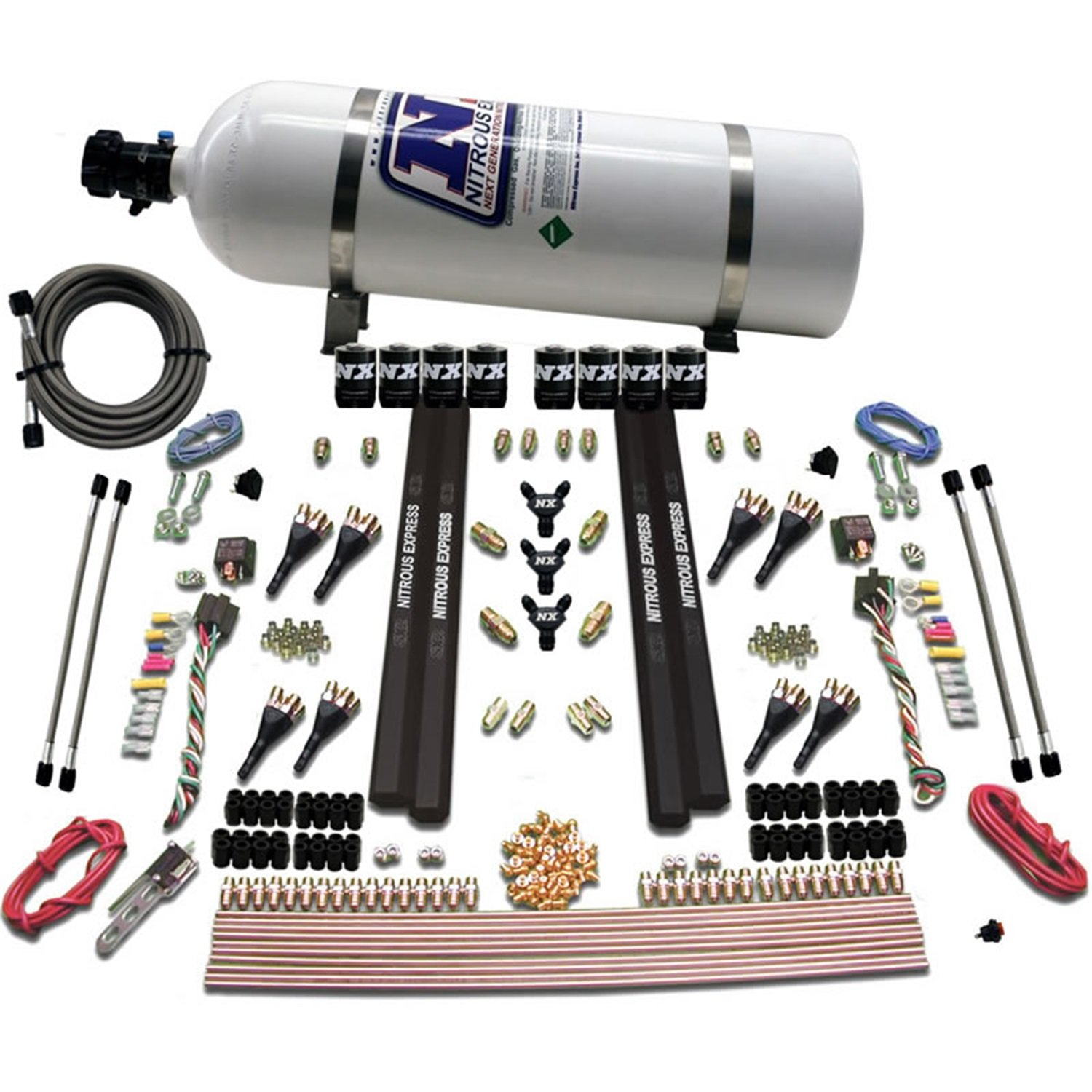 Bottle Nitrous Express 90009-15 200-1200 HP 8-Cylinder SX2 Direct Port System with 8 Solenoids and 15 lbs