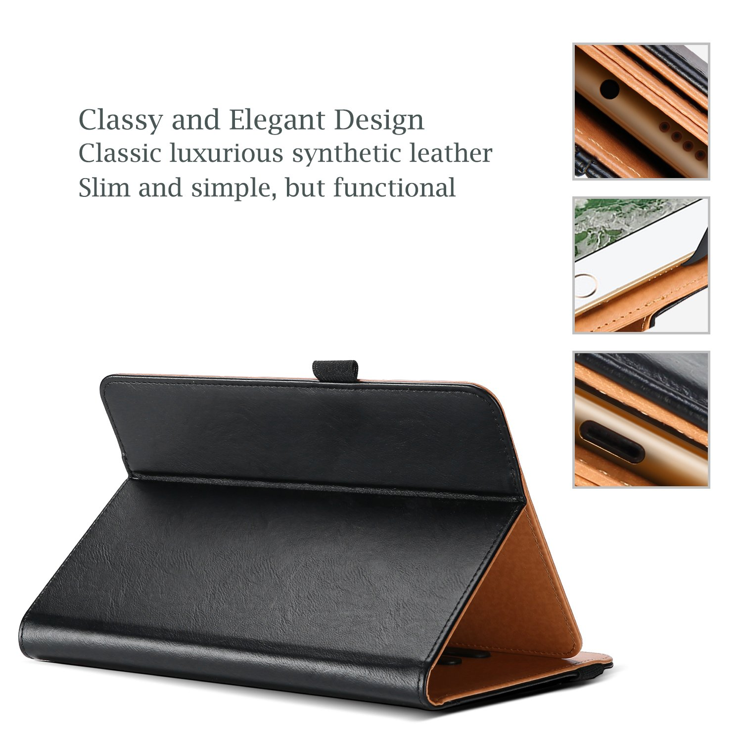 Black ProCase Universal Case for 7-8 inch Tablet with Multiple Viewing Angles Stand Folio Case Protective Cover for 7 8 Touchscreen Tablet Document Card Pocket and Bonus Stylus Pen
