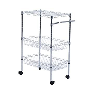 Portable Rolling Wire Basket Kitchen Storage Trolley