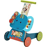 Labebe Wooden Push Pull Toy, Activity Baby Walker, Toddler Learning Cart - Blue Elephant