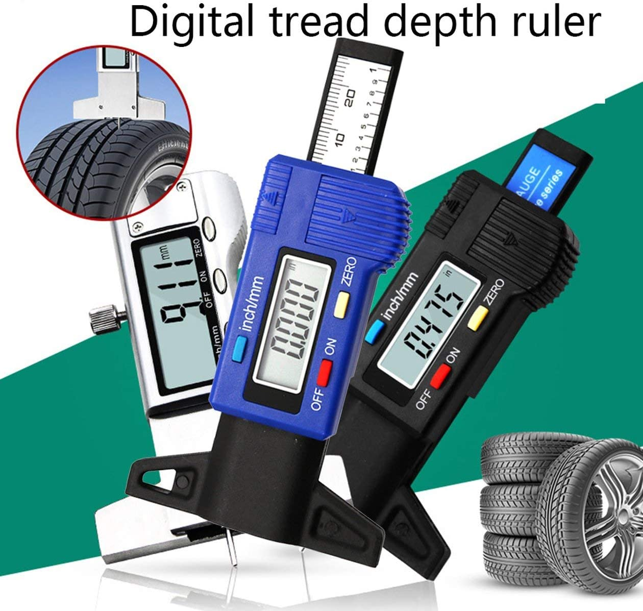 Blue cottonlilac Car 0-25.4mm Digital Tyre Tire Tread Depth Tester Gauge Meter Measurer Tool Caliper LCD Display Tpms Tire Monitoring System