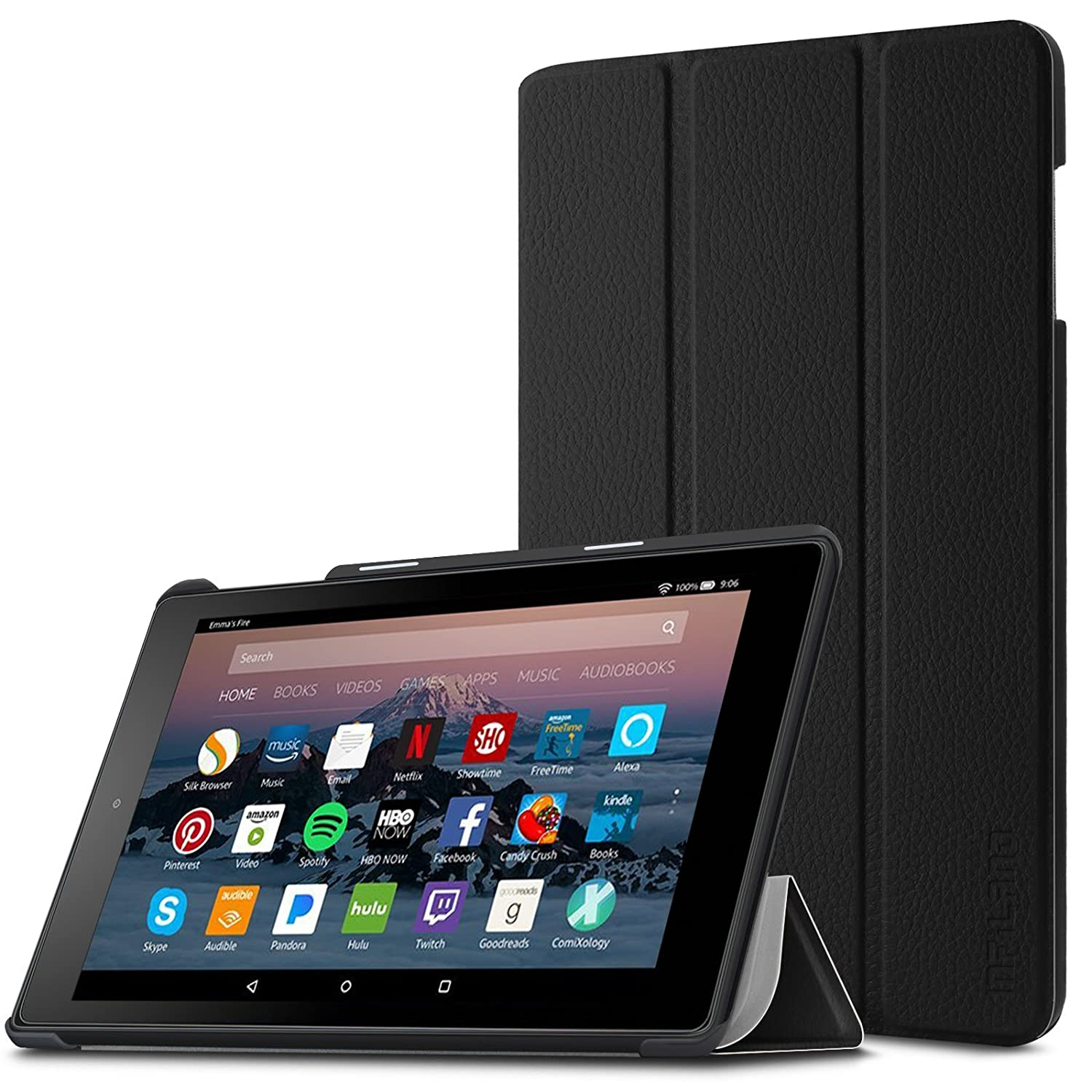 Infiland Fire HD 8 Case, Slim Tri-fold Stand Cover Compatible with Fire HD  8 (8th Gen, 2018 Release)/ Fire HD 8 (7th Gen, 2017 Release)/ Fire HD 8