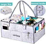 Hmlike Nappy Caddy Organiser, Larger Baby Diaper Caddy Organiser Storage Baskets with Removable Handles and Cover - Nappy Bin for Changing Table
