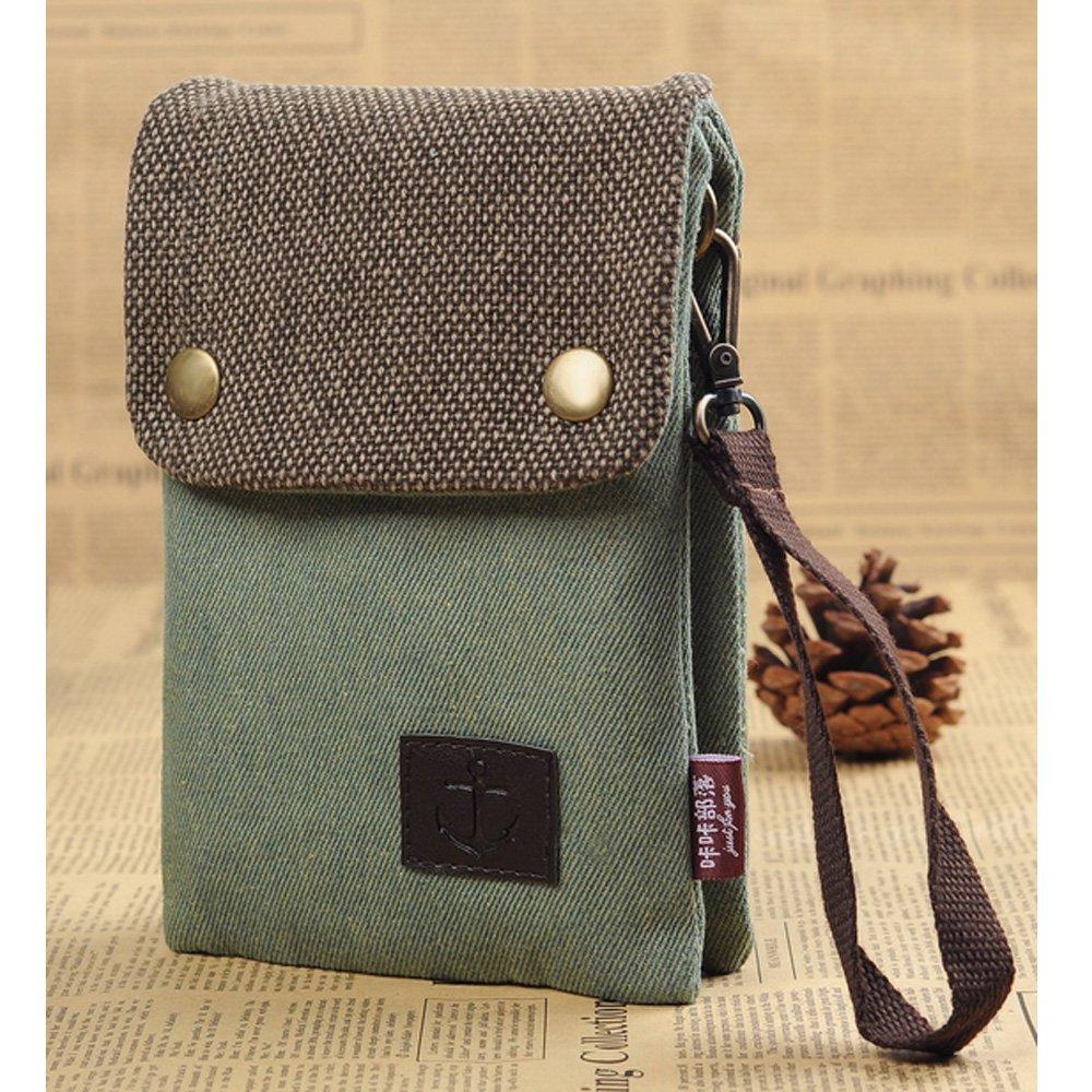 S.LOVE Heavy-Duty Canvas Change Purse Short Women Wallet Mini Crossbody Bag for iPhone 6/6S Plus Galaxy Note Series