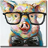 SEVEN WALL ARTS -100% Hand Painted Oil Painting Animal Stretched and Framed Ready to Hang for Living Room (24 x 24 Inch, Smart Pig)
