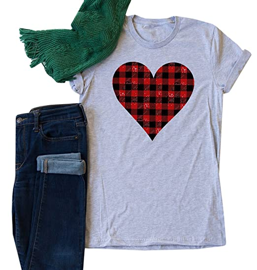 661c17c67ac NiuBia Womens Valentines Day T-Shirts Buffalo Plaid Love Heart Grahpic  Short Sleeve Round Neck Tops at Amazon Women's Clothing store:
