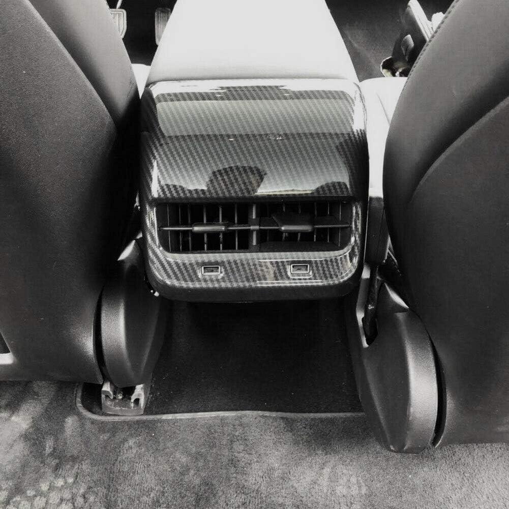 Justautotrim Carbon Fiber Style Interior Exterior Cover Trims Accessories for Tesla Model 3 2017 2018 2019 Rear seat AC Vent