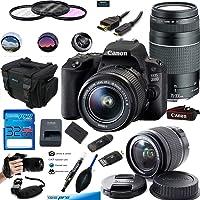 Canon EOS 200D / Rebel SL2 Kit EF-S 18-55mm f/3.5-5.6 III Lens + Canon EF 75-300mm f/4-5.6 III Lens Digital SLR Cameras (Black) - Deal-Expo Premium Accessories Bundle