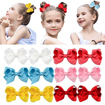 12Pcs infant Baby Girl Toddler Hair Bow Alligator Clip Grosgrain Ribbon Headband