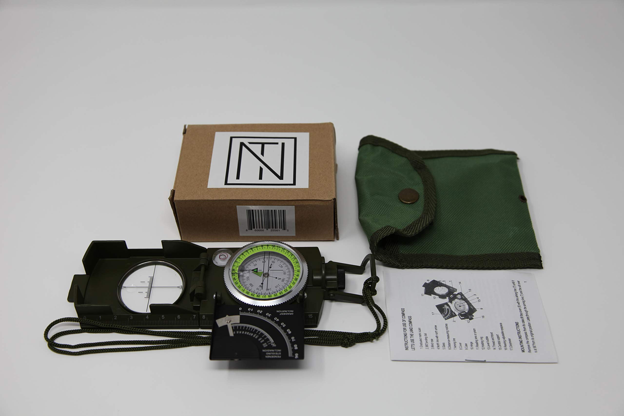 NT Multifunctional Military Lensatic Sighting Compass with Inclinometer and Carrying Bag and Waterproof by NT