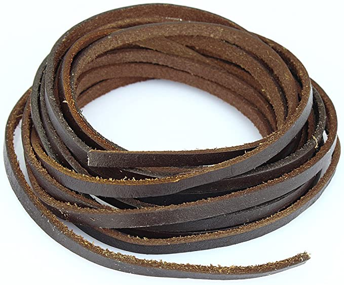 3mm 7.65 Yards, Brown Mandala Crafts Extra Long Genuine Flat Cowhide Leather Lace Strap String Cord
