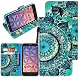 "Jitterbug Smart (5.5"") Case, Linkertech [Kickstand Feature] PU Leather Wallet Flip Pouch Case Cover With Wrist Strap & Card Slots For Jitterbug Smart (5.5inch) (C-1)"