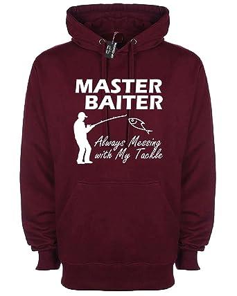 Master Baiter Funny Fishing Hoodie Rude Unisex Hoody Novelty Slogan Gift Hood