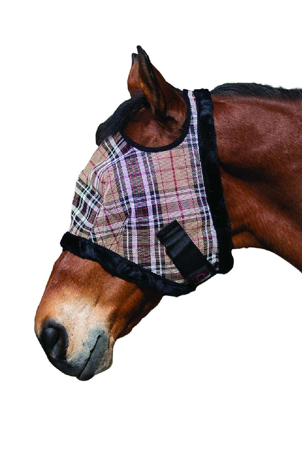 Kensington Fly Mask with Fleece Trim for Horses - Protects Face and Eyes From Flies and UV Rays While Allowing Full Visibility -  Breathable and Non Heat Transferring Makes it Perfect Year Round, Large, Deluxe Black Plaid by Kensington Protective Products