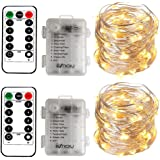 2 x Fairy Lights Battery Operated, Silver Wire Chains 8 Mode 5M 50 LEDs Timer String Lights with Remote Control for Bedroom C