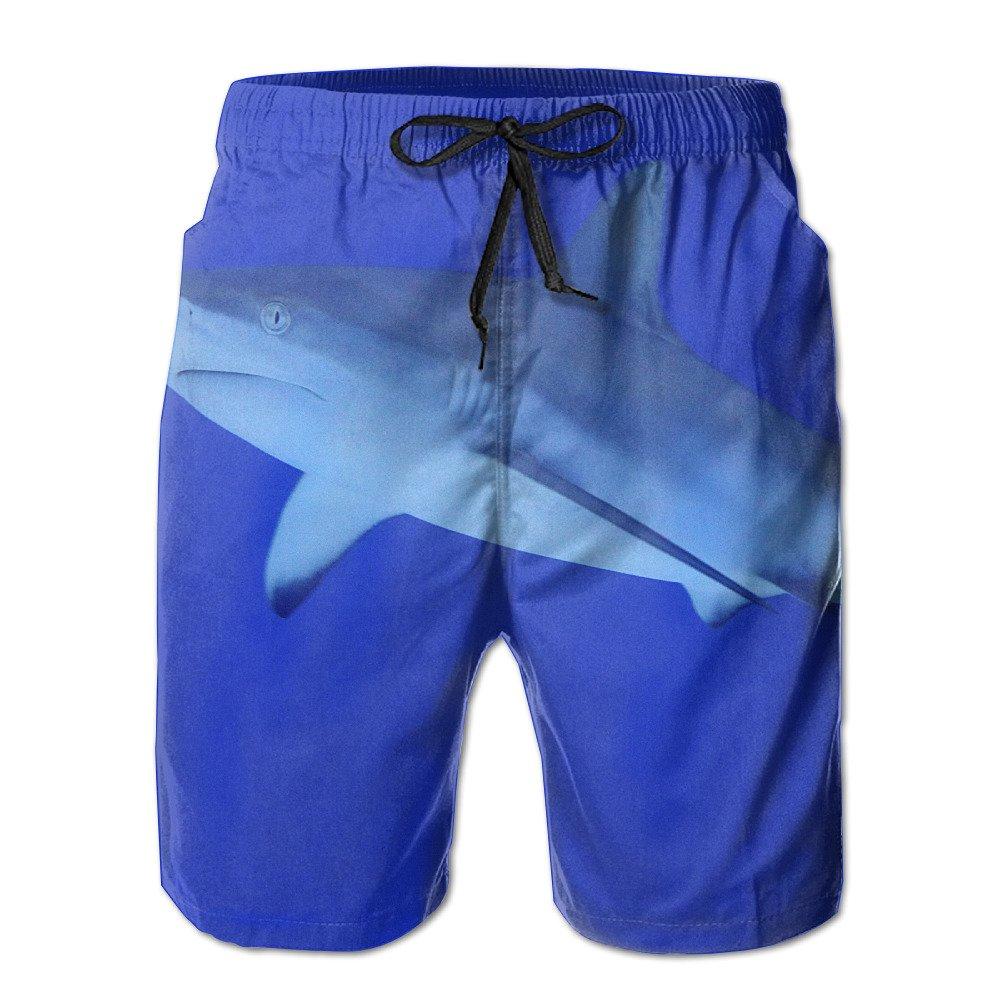 ZQ-SOUTH Mens Shark Blue Quick Dry Summer Beach Surfing Board Shorts Swim Trunks Cargo Shorts