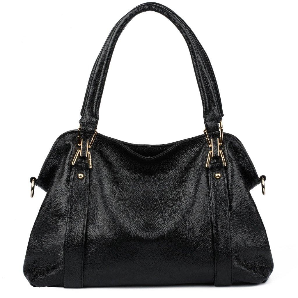 YALUXE Women's Soft Cowhide Genuine Leather Purse Hobo Shoulder Bag Black