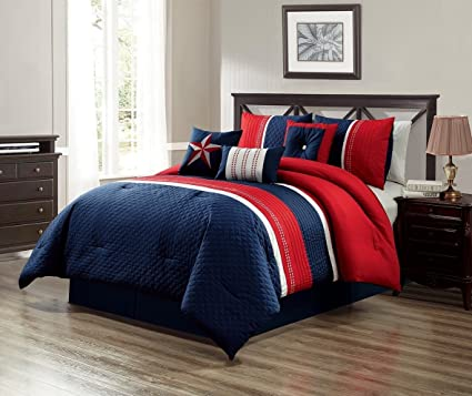 GrandLinen 7 Piece Navy Blue/Red/White Texas Lone Star Embroidery Western  Bed in A Bag Microfiber Comforter Set Queen Size Bedding. Perfect for Any  ...