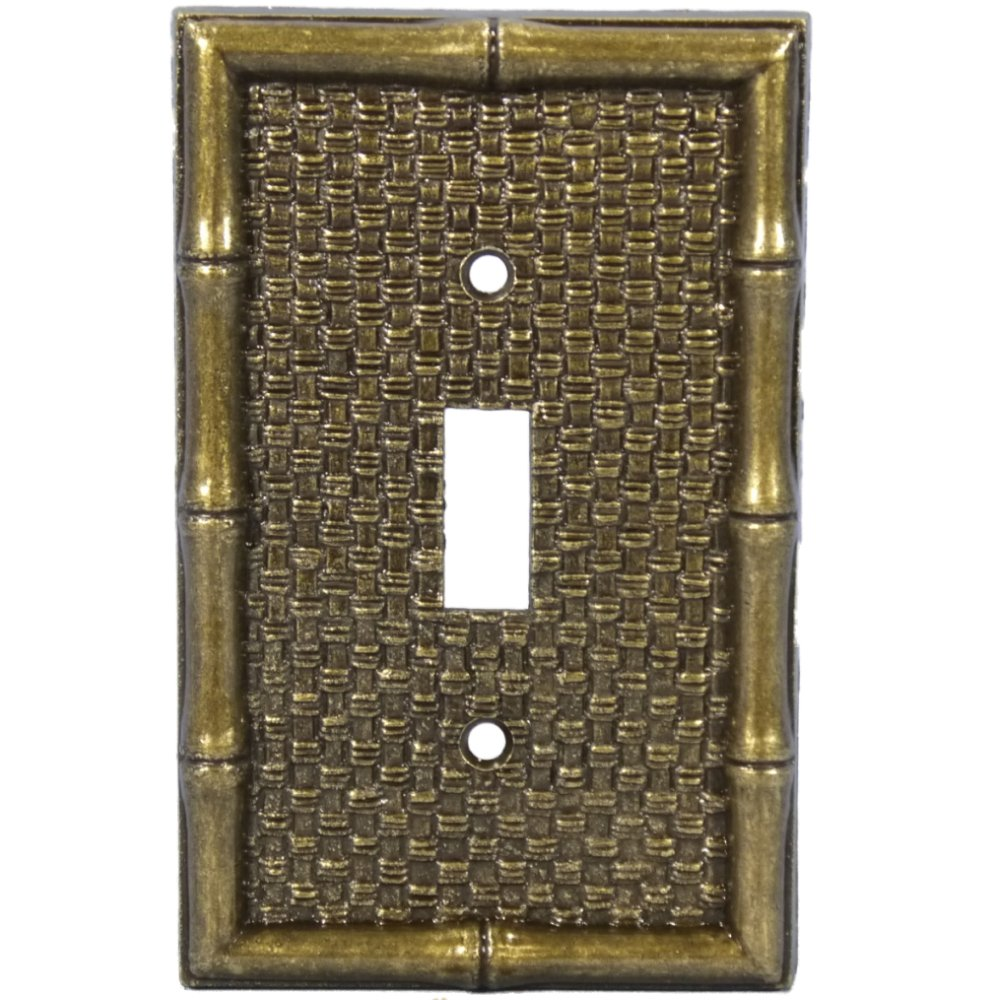 Leviton Brass Tiki Bamboo Toggle Switch Wallplate Cover 89601 Light Switchplates Outlet Covers Plates Wallplates Wall
