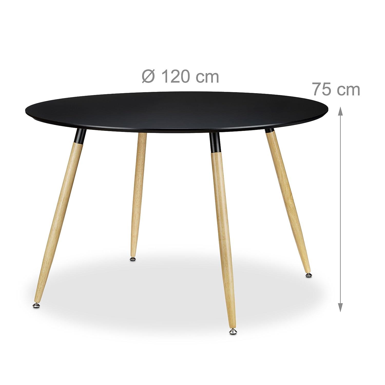 posto per 6-8 persone modello scandinavo Relaxdays Tavolo da pranzo rotondo misure HxD: 75 x 120 cm protezioni inferiori gomma modello ARVID legno colore bianco