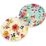 Watercolor Floral Wallpaper Look 2 Piece Ceramic Car Coaster Set