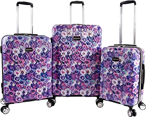 BEBE Women s Gia 3pc Suitcase Set with Spinner Wheels, Purple Pansies, One Size