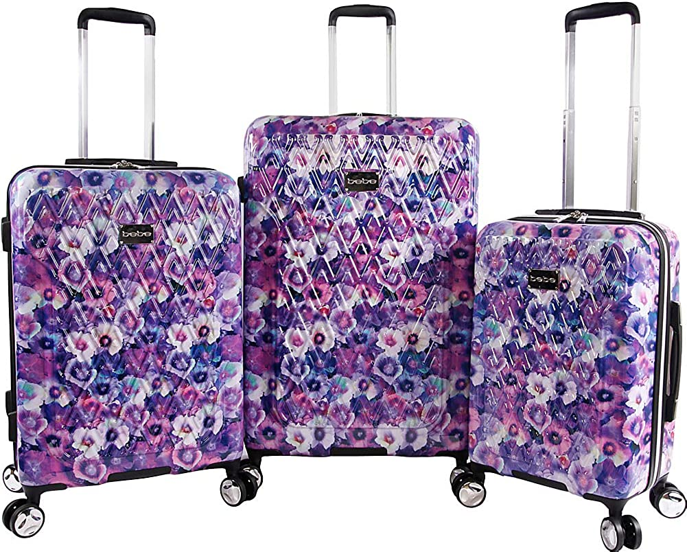 BEBE Gia 3pc Suitcase Set with Spinner Wheels
