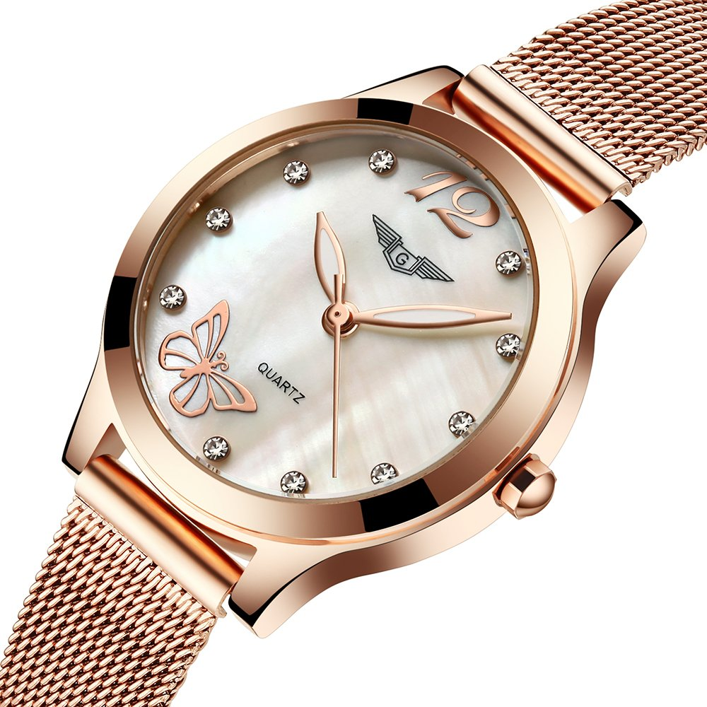 fb18c75d41eef Amazon.com  Ultra-thin Waterproof Women Watches coupons for Fashion Quartz  Watch Diamond Butterfly G075 (gold butterfly)  Health   Personal Care