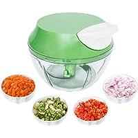 Mini Triturador Processador de alimentos manual alho cebola 3 Lâminas inox 550ml Top, Cor: (Verde)