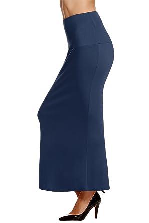 ACEVOG Falda de tubo de talle alto, larga y ajustada con acabado ...
