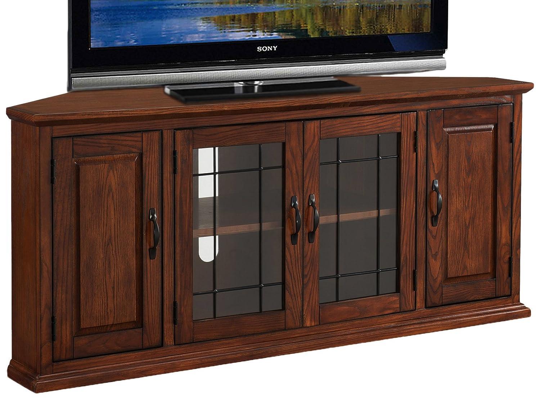 Leick 80385 Oak Leaded Glass Corner TV Stand
