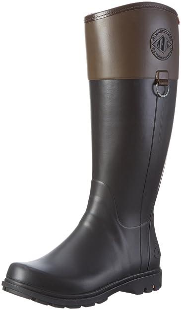 Viking Ascot, Damen Langschaft Gummistiefel, Schwarz (Black/Brown 208), 40 EU