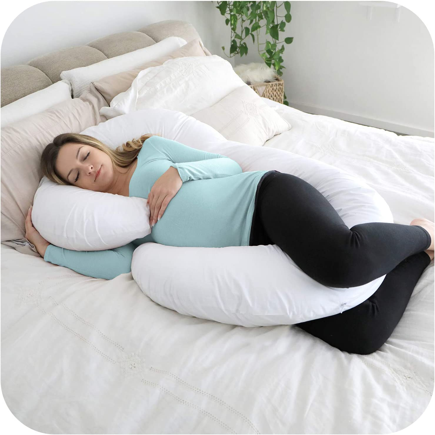 PharMeDoc Mint Total Body Pillow Cover Replacement C Shaped Cover